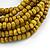 Multistrand Dusty Yellow Glass Bead with Brown Wooden Bead Flex Bracelet - Medium - view 3