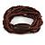 Multistrand Brown Glass Bead with Wooden Bead Flex Bracelet - Medium