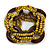 Multistrand Dusty Yellow Glass Bead with Wooden Rings Flex Bracelet - Medium - view 3