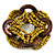 Multistrand Dusty Yellow Glass Bead with Wooden Rings Flex Bracelet - Medium - view 4