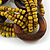 Multistrand Dusty Yellow Glass Bead with Wooden Rings Flex Bracelet - Medium - view 5