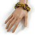 Multistrand Dusty Yellow Glass Bead with Wooden Rings Flex Bracelet - Medium - view 2