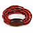 Multistrand Red-Brown Glass Bead with Brown Wooden Bead Flex Bracelet - Medium