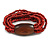 Multistrand Red-Brown Glass Bead with Brown Wooden Bead Flex Bracelet - Medium - view 4
