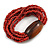 Multistrand Red-Brown Glass Bead with Brown Wooden Bead Flex Bracelet - Medium - view 5