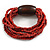 Multistrand Red-Brown Glass Bead with Brown Wooden Bead Flex Bracelet - Medium - view 6
