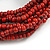 Multistrand Red-Brown Glass Bead with Brown Wooden Bead Flex Bracelet - Medium - view 3