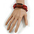 Multistrand Red-Brown Glass Bead with Brown Wooden Bead Flex Bracelet - Medium - view 2