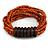 Multistrand Dusty Orange Glass Bead with Wooden Rings Flex Bracelet - Medium