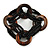 Multistrand Black Glass Bead with Wooden Rings Flex Bracelet - Medium - view 5