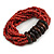 Multistrand Red-Brown Glass Bead with Wooden Rings Flex Bracelet - Medium - view 4