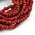 Multistrand Red-Brown Glass Bead with Wooden Rings Flex Bracelet - Medium - view 3