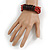 Multistrand Red-Brown Glass Bead with Wooden Rings Flex Bracelet - Medium - view 2
