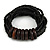 Multistrand Black Glass Bead with Wooden Rings Flex Bracelet - Medium - view 1