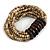 Multistrand Antique White Glass Bead with Wooden Rings Flex Bracelet - Medium - view 4