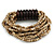Multistrand Antique White Glass Bead with Wooden Rings Flex Bracelet - Medium - view 5