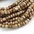 Multistrand Antique White Glass Bead with Wooden Rings Flex Bracelet - Medium - view 3