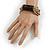 Multistrand Antique White Glass Bead with Wooden Rings Flex Bracelet - Medium - view 2