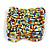 Wide Multicoloured Glass Bead Flex Bracelet - Large - up to 22cm wrist