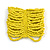 Wide Bright Yellow Glass Bead Flex Bracelet - Large - up to 22cm wrist