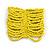 Wide Bright Yellow Glass Bead Flex Bracelet - Large - up to 22cm wrist