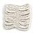 Wide Snow White Glass Bead Flex Bracelet - Large - up to 22cm wrist