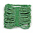 Wide Apple Green Glass Bead Flex Bracelet - Large - up to 22cm wrist
