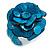 Statement Turquoise Snake Print Leather Flower Flex Cuff Bangle Bracelet - Adjustable