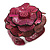 Statement Fuchsia Pink Snake Print Leather Flower Flex Cuff Bangle Bracelet - Adjustable