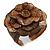 Statement Taupe Brown Snake Print Leather Flower Flex Cuff Bangle Bracelet - Adjustable