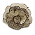 Statement Off White/ Grey Snake Print Leather Flower Flex Cuff Bangle Bracelet - Adjustable - view 3