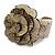 Statement Off White/ Grey Snake Print Leather Flower Flex Cuff Bangle Bracelet - Adjustable - view 4