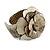 Statement Off White/ Grey Snake Print Leather Flower Flex Cuff Bangle Bracelet - Adjustable - view 5