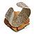 Statement Off White/ Grey Snake Print Leather Flower Flex Cuff Bangle Bracelet - Adjustable - view 6