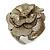 Statement Off White/ Grey Snake Print Leather Flower Flex Cuff Bangle Bracelet - Adjustable