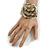 Statement Off White/ Grey Snake Print Leather Flower Flex Cuff Bangle Bracelet - Adjustable - view 2