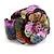 Statement Multicoloured Snake Print Leather Flower Flex Cuff Bangle Bracelet - Adjustable