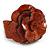 Statement Orange Snake Print Leather Flower Flex Cuff Bangle Bracelet - Adjustable
