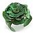 Statement Green Snake Print Leather Flower Flex Cuff Bangle Bracelet - Adjustable