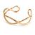 Modern Polished Gold Tone Link Cuff Bracelet - 18cm - view 4