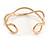 Modern Polished Gold Tone Link Cuff Bracelet - 18cm - view 5