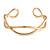 Modern Polished Gold Tone Link Cuff Bracelet - 18cm - view 3