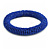Blue Glass Bead Roll Stretch Bracelet - Adjustable - view 4