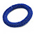 Blue Glass Bead Roll Stretch Bracelet - Adjustable - view 5
