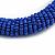 Blue Glass Bead Roll Stretch Bracelet - Adjustable - view 3
