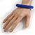Blue Glass Bead Roll Stretch Bracelet - Adjustable - view 2