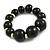 Black Graduated Wood Bead Flex Bracelet - 18cm Long - view 3