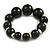 Black Graduated Wood Bead Flex Bracelet - 18cm Long - view 4