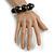 Black Graduated Wood Bead Flex Bracelet - 18cm Long - view 2