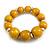 Yellow Graduated Wood Bead Flex Bracelet - 18cm Long